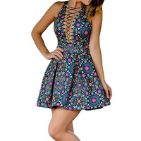 Dark Blue Floral Print Lace Up Plunge V-neck Sleeveless Skater Dress