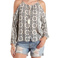 Ivory Combo Tassel-Tied Printed Cold Shoulder Top by Charlotte Russe