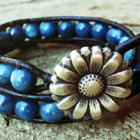 Blue Beaded Leather Wrap Bracelet with Flower Button