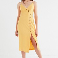 UO Amber Button-Down Linen Midi Dress | Urban Outfitters