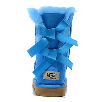 UGG Women Bow Fur Leather Boots Half Boots Shoes