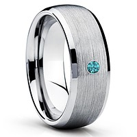 Tungsten Wedding Band - Blue Diamond Ring - Men's Tungsten - Gray Ring