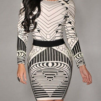 White Geometric Tribal Pattern Long Sleeve Backless Bodycon Dress