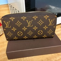 LV Louis Vuitton Classic Monogram Check Leather Couple Leisure Personality Wallet Purse