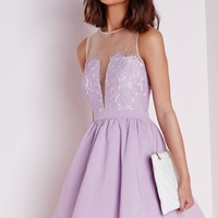 Missguided - Lace Puffball Skater Dress Lilac