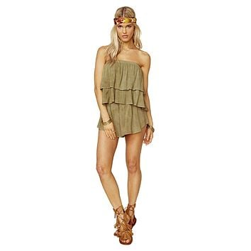 Blue Life Marion Tiered Romper Spanish Olive