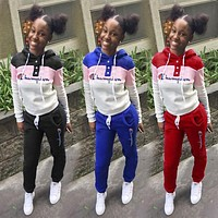 Champion Fashionable Women Casual Stitching Color Sport Long Sleeve Sweater Pants Two Piece Set Sportswear