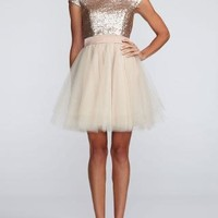 Cap Sleeve Sequin Bodice Dress with Tulle Skirt - David's Bridal- mobile