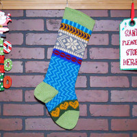 Christmas Stocking, Hand Knit with Fern Green Cuff, Heather Snowflake and Gold Hearts, Can be Personalized, Fair Isle Knit, Gift Idea