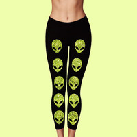 Alien Green Glitter Yoga Leggings Black cotton blend stretch tumblr / grunge / seapunk / pastel goth / pastel grunge / 90s / hipster