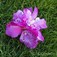 Orchid Blooms Plum Hawaiian Flower Hair Clip