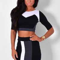 Symbol Monochrome Top and Midi Skirt Two Piece Set | Pink Boutique