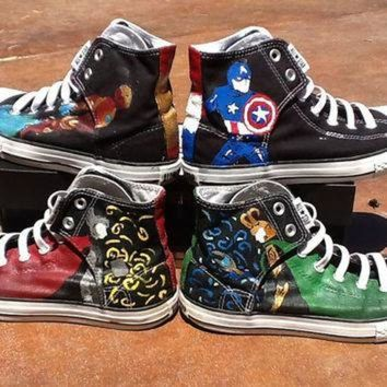CREYUG7 Avengers Hand Painted Converse High Tops