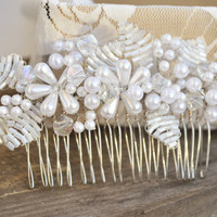 Bridal Hair Comb, Wedding Headpiece, Pearl Comb, Floral Comb, Bridal Hair Accessories, Pearl Headpiece