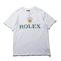 Rolex New fashion letter crown print couple top t-shirt White