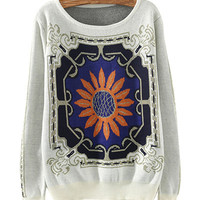 White Floral Tile Print Knitted Sweater