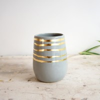 Gray + Gold Stripes Cylinder Vase   BRIKA - A Well-Crafted Life