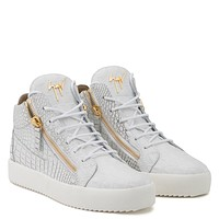 Giuseppe Zanotti Gz Kriss White Crocodile Embossed Calfskin Leather Mid-top Sneaker