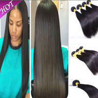 Cambodian virgin hair straight  selling Cambodian straight hair extension 100% Unprocessed Human hair weaves   Nutural black