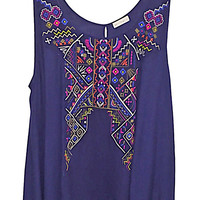 Plus Size Embroidered Handkerchief Woven Tank Top