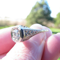1920's Art Deco Diamond Engagement Ring, Fiery Old European Cut, Filigree and Engraved Details, White Gold, Custom Sizing Included