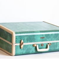 Vintage LARGE Aqua Marbled Samsonite Suitcase, 1950s Hardside Jade Green Luggage with Clothes Hangers, Style 5151