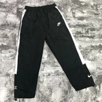 NIKE New fashion embroidery letter hook sports leisure couple reflective pants Black