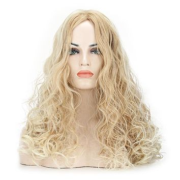 Long Golden Curly Synthetic Hair Wig for Women Heat Resistance