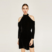 VELVET DRESS WITH CUT-OUT SHOULDERS