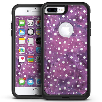 White Polka Dots Over Purple Pink Paint Mix - iPhone 7 or 7 Plus Commuter Case Skin Kit
