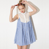 Blue And White Stripes Sleeveless Collar Button Hollow Pleated A-Line Mini  Dress