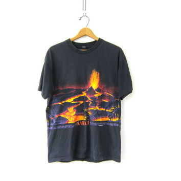 Vintage Koua, Hawaii T-Shirt. Oversized faded black Tee Shirt. volcano tee