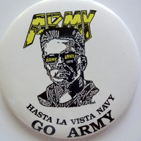 Vintage Army Versus Navy Button 1980s