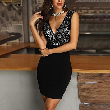 Bodycon Dress Elegant Black Lace Patchwork Sexy Backless Women Party Slip Dresses Mini Summer Clothes For Women