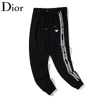 Dior New fashion letter print sports leisure pants Black