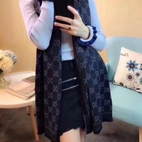 Gucci Fashion Women Easy to match Cotton Scarf Two Sides