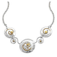 16.5in x 1.5in Two Tone Swirl Design Necklace