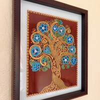 """Tree of life 11""""x13"""" Glass painting Point-to-point painting Bohemian decor Wall decor"""