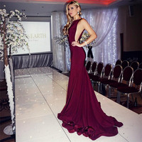 2017 Robe De Soiree Sexy Backless Burgundy Mermaid Prom Dresses Vestido De Festa Long Mermaid Chiffon Formal Evening Party Gowns