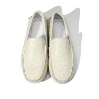 6 Colors TOP Soft Genuine Leather Ostrich Prints Mens Casual SLIP-ON Penny Loafer Lazy Man Driving Boat Shoes