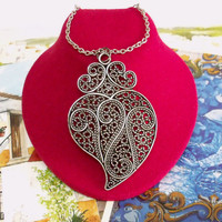 Portuguese Folk Viana filigree heart big pendant jewelry making Portuguese Viana heart pendant