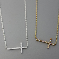 Sideways Cross with Cubic Setting Pendant Necklace  -  Available color as listed ( Gold, Silver )