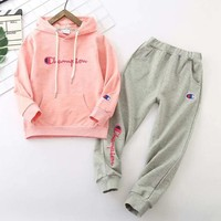 Champion Girls Boys Children Baby Toddler Kids Child Fashion Casual Top Sweater Pullover Hoodie Pants Trousers Set Two-Piece