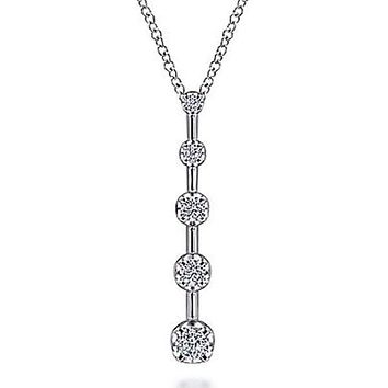 Gabriel Five Stone Diamond Drop Bar Pendant