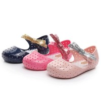 New Kids Mini Melissa Jelly Sandals For Baby Girls Glitte Bow Summer Style Children Shoes Infantil Sandalia Toddler Sandalet