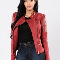 Try Me Jacket - Burgundy