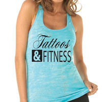 Tattoos and Fitness Workout Tank Top. Crossfit Tank Top. Sexy Workout Tank. Womens Fitness Tank. Crossfit Shirt. Bad Ass. By WorkItWearr