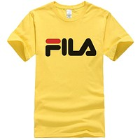 FILA Hot Sale Men Women Casual Print Short Sleeve T-Shirt Top Yellow