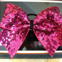 """3"""", 3 inch cheer cheerleader bow- HOT pink sequins all over"""