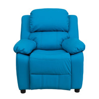 Deluxe Heavily Padded Contemporary Turquoise Vinyl Kids Recliner with Storage Arms [BT-7985-KID-TURQ-GG]